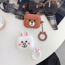 Cute Earphone Case for Airpods Pro Case Silicone Cartoon Bear Earpods Cover for Apple Air Pods Pro 3 Coque Accessories Keychain 3d lucky rat cartoon bluetooth earphone case for airpods pro cute accessories protective cover for apple air pods 3 silicone