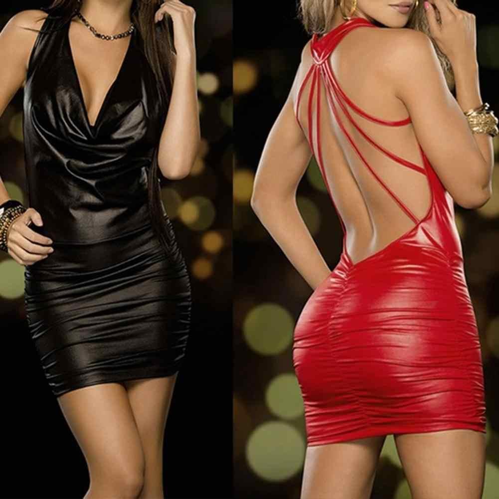 Femmes Sexy noir et rouge humide Look sans manches dos nu pansement licou Faux cuir robe moulante Mini robe moulante sous-vêtements