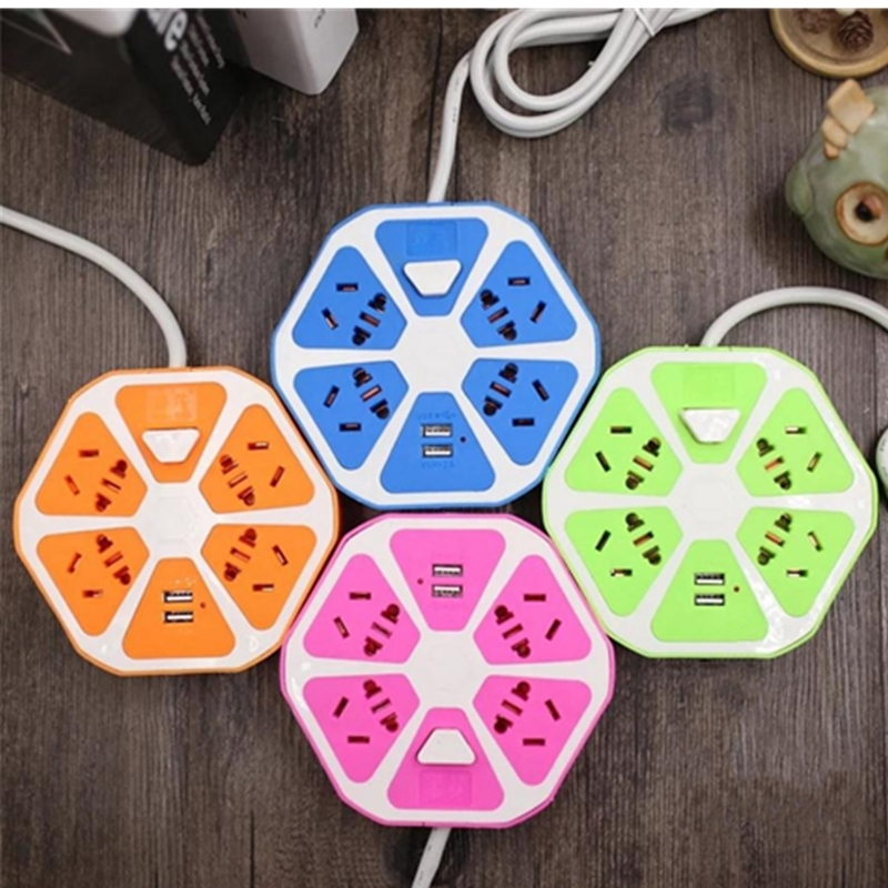 Portable USB Power Strip 4 Power Sockets+2USB Outlets Overload Protection Extension Lead Adapter Travel USB Socket 1.5M Cable