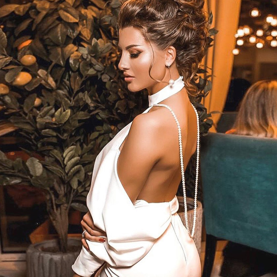 Adyce New Summer White Backless Bandage Dress Women Sexy Pearls Chain Club Off Shoulder Celebrity Evening Party Dress Vestidos