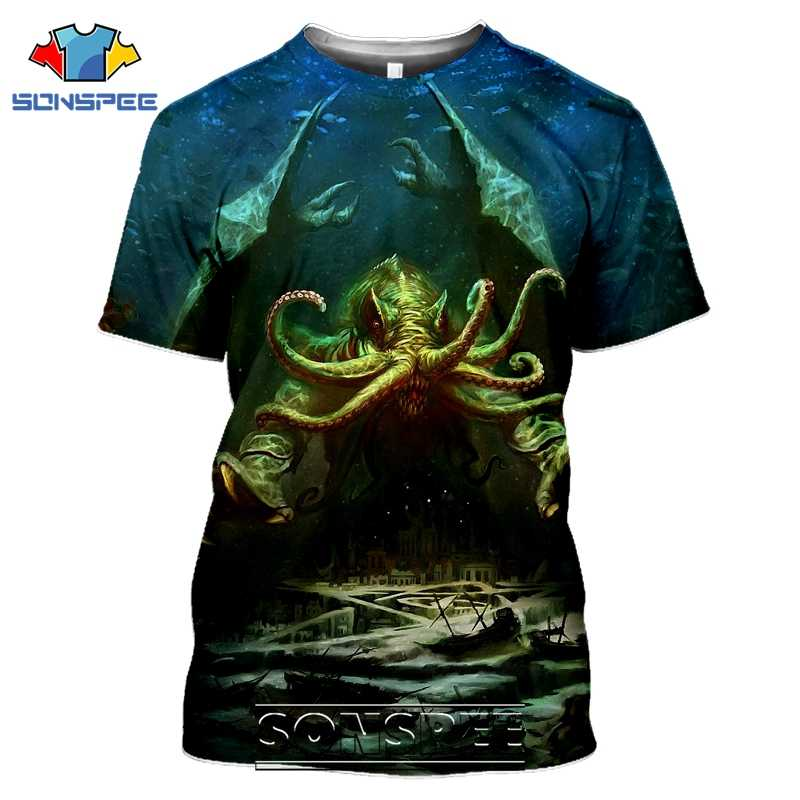 Sonspee 3D Cetak Pria Wanita Call Of Cthulhu T-shirt Kasual Streetwear Harajuku Lengan Pendek Lovecraft Horor Atasan Kemeja