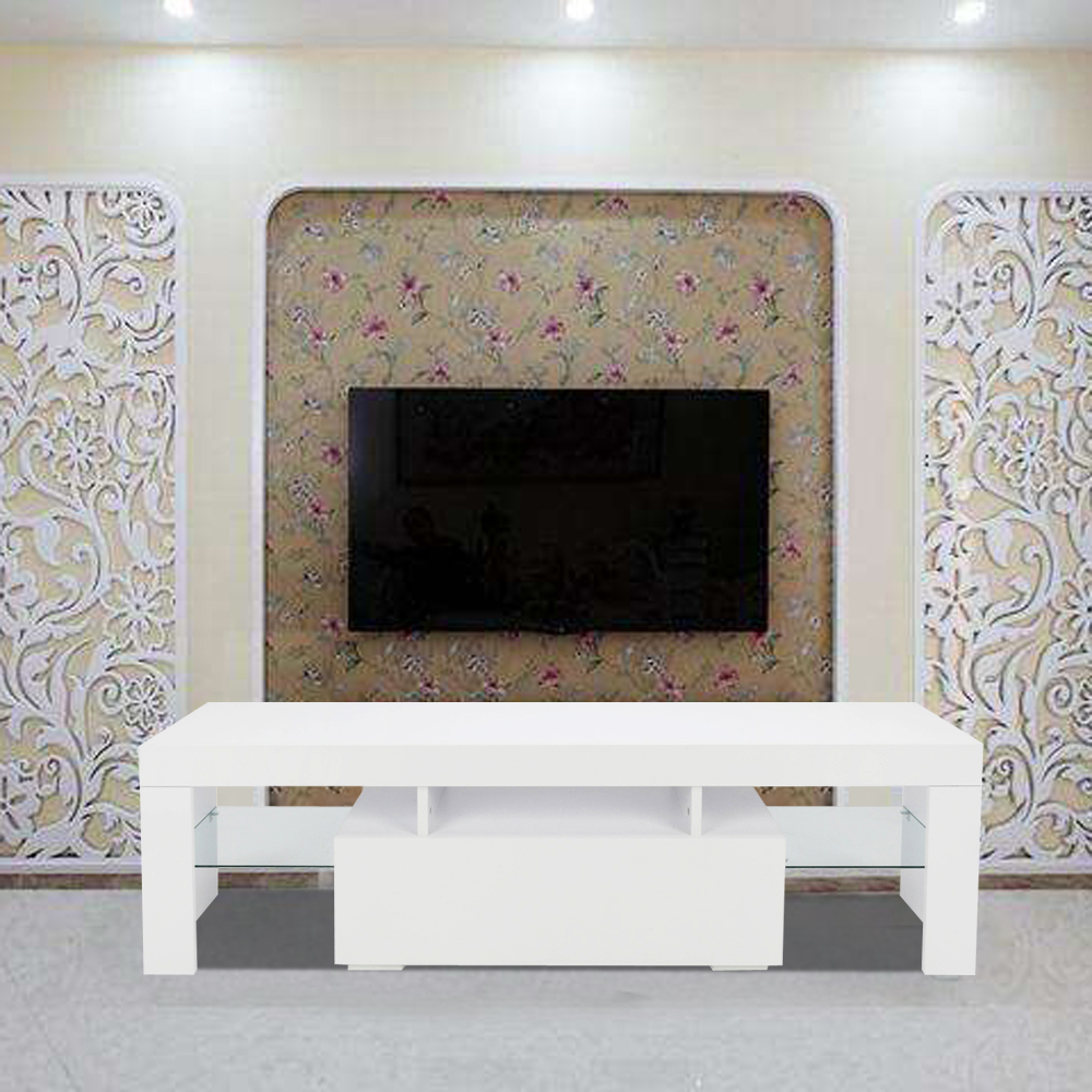 【US Warehouse】Elegant Household Decoration LED TV Cabinet With Single Drawer White (TV Cabinet )