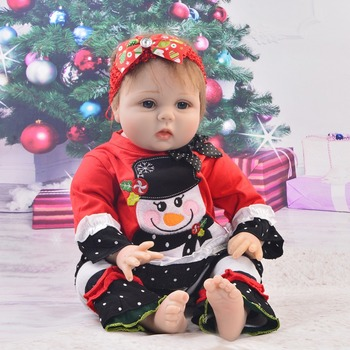 22inch babies reborn baby dolls girls 3/4 silicone realistic Newborn toddlers blue eyes that look real Princess with pink bottle