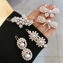 Vintage Beaded Pearl Flower Hair Clip Korean Fashion Handmade Accessories For Women Girl Geometric Butterfly Jewelry 2019