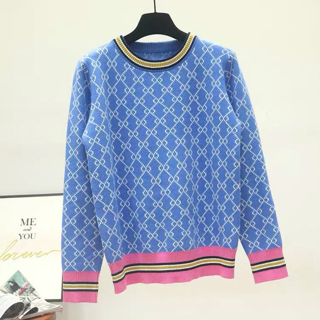 Autumn And Winter New Loose Knit Sweater Korean Style Pullover Round Neck Geometric Clash Jacquard Casual Sweater Jumper 4
