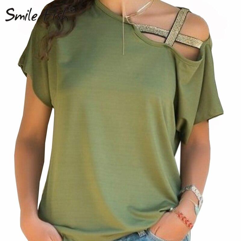 5XL Summer Women Shirts Casul Irregular Sexy Off Shoulder Tops New Fashion Short Sleeve Shirts Feminina Plus Size Blusas GV186