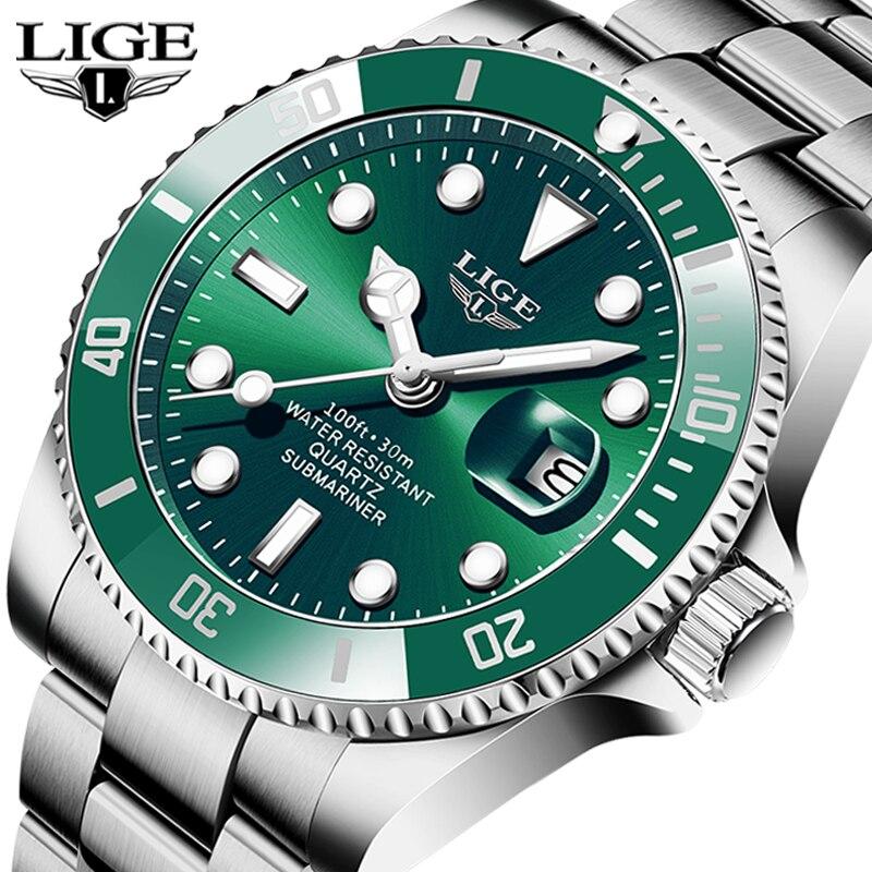 LIGE Listing Luxury Fashion Men Watch 30ATM Waterproof Date Clock Male Sport Watch Men Quartz Wristwatch Relogio Masculino+Box(China)