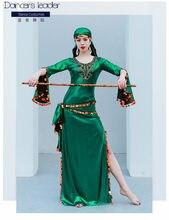 Robe longue style folklorique, 4 pièces, jupe, foulard, ceinture, Costume de Performance pour compétition pour adultes