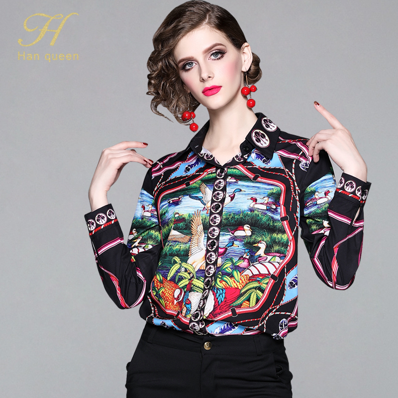 H Han Queen Europe Fashion Women Blouses New Office Casual Tops Elegante Chiffon Long Sleeve Blouse  Printing Shirt Plus Size