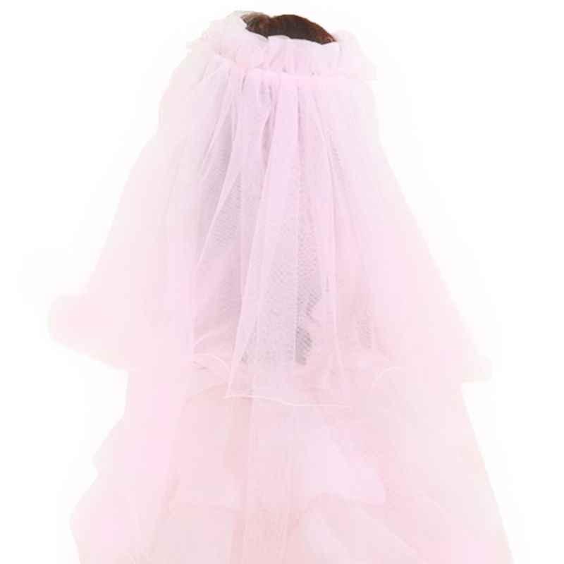 Kinder Mädchen Kleine Prinzessin Haarband Doppel Schichten Tüll Braut Schleier Blumen Girlande Rüschen Floral Spitze Hochzeit