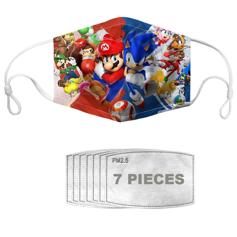 NOISYDESIGNS Kids Anti Dust Flu Face Mouth Mask Sonic Mario Mask Cartoon Multicolor Children Protective Mouth Cover Reusable