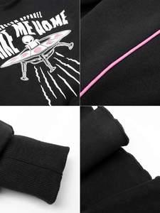 Image 5 - 펑크 레이브 소녀의 펑크 스타일 외계인 집에 데려다 인쇄 긴 소매 flounced 랩 드레스 여성 캐주얼 블랙 드레스