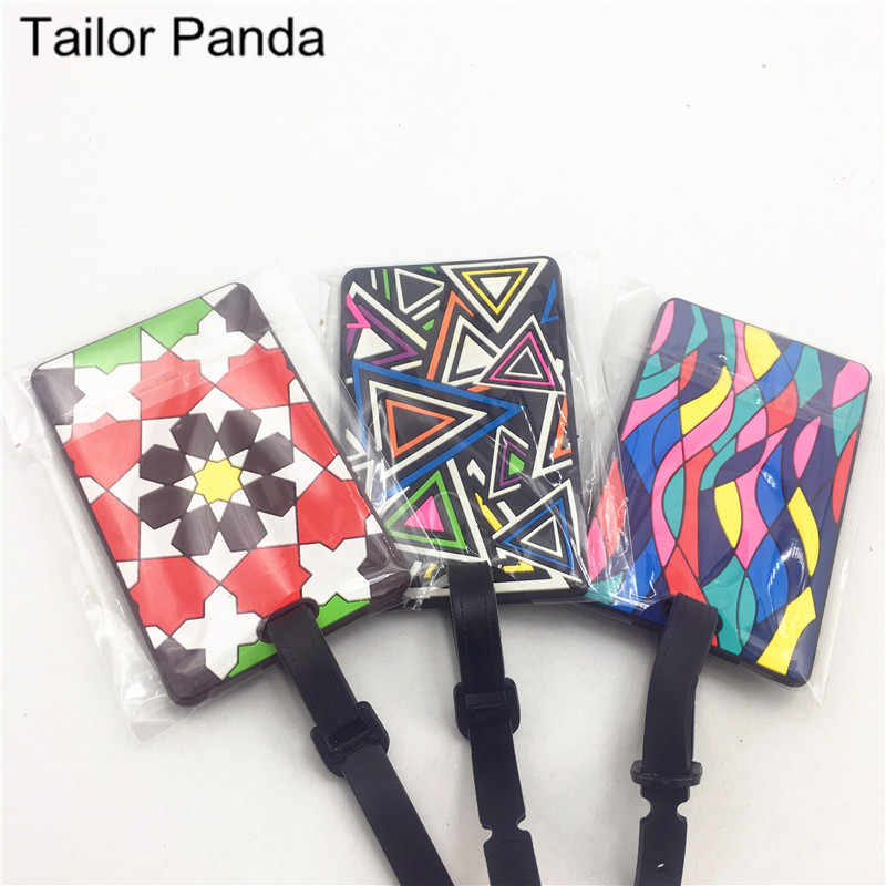 Bagage Card Silicone Naam Hang Tag Creative Nationale Stijl Multi-color Geometrische Cartoon Hangtag Voor Bagage/Koffer