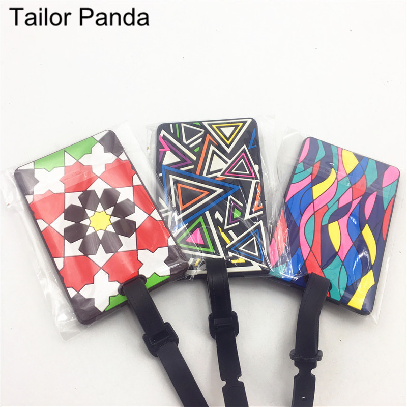 Luggage Card Silicone Name Hang Tag Creative National Style Multi-color Geometric Cartoon Hangtag For Luggage/Suitcase