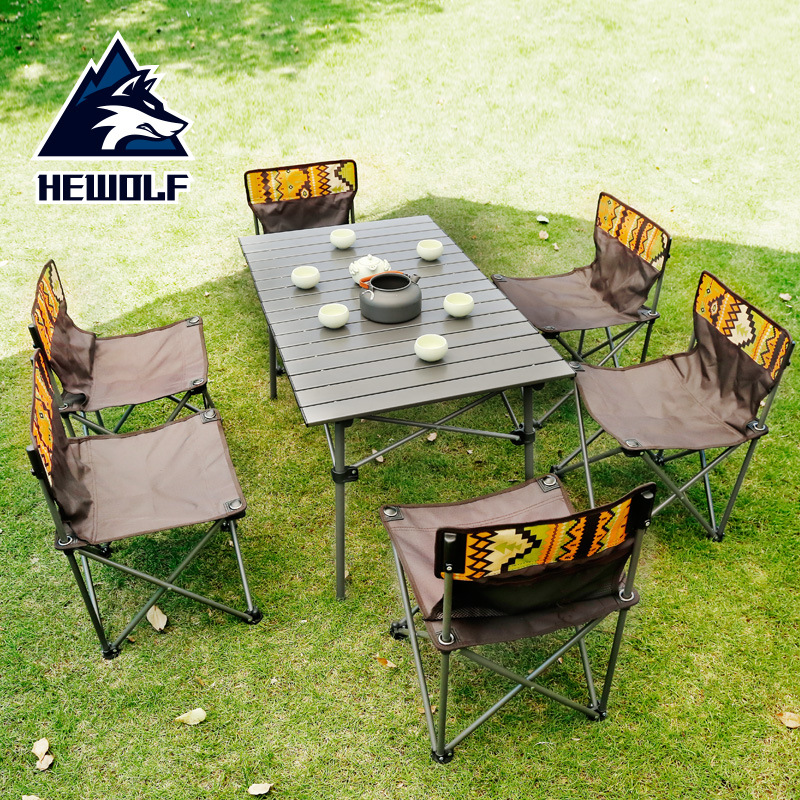Hewolf Outdoor Folding Table And Chair Set Portable Picnic Table 7-piece Outdoor Self-driving Tour Leisure Table And Chair