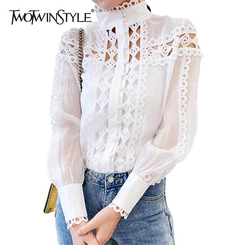 TWOTWINSTYLE 2019 Spring Summer Hollow Out Womens Shirts Blouse Stand Collar Sheer Lace Tops Female Fashion Clothing Two Piece