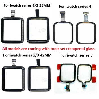 For Apple Watch Series 1 2 3 4 5 6 SE 38MM 42mm 40mm 44mm Touch Screen Digitizer Glass Replacement + Tools Set+ Tempered Glass image