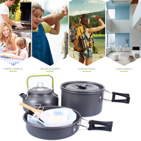 Camping Pot Aluminum Alloy Cookware Set Picnic Cookware Outdoor Pan Set Wooden Shovels Kettle Soup Spoon