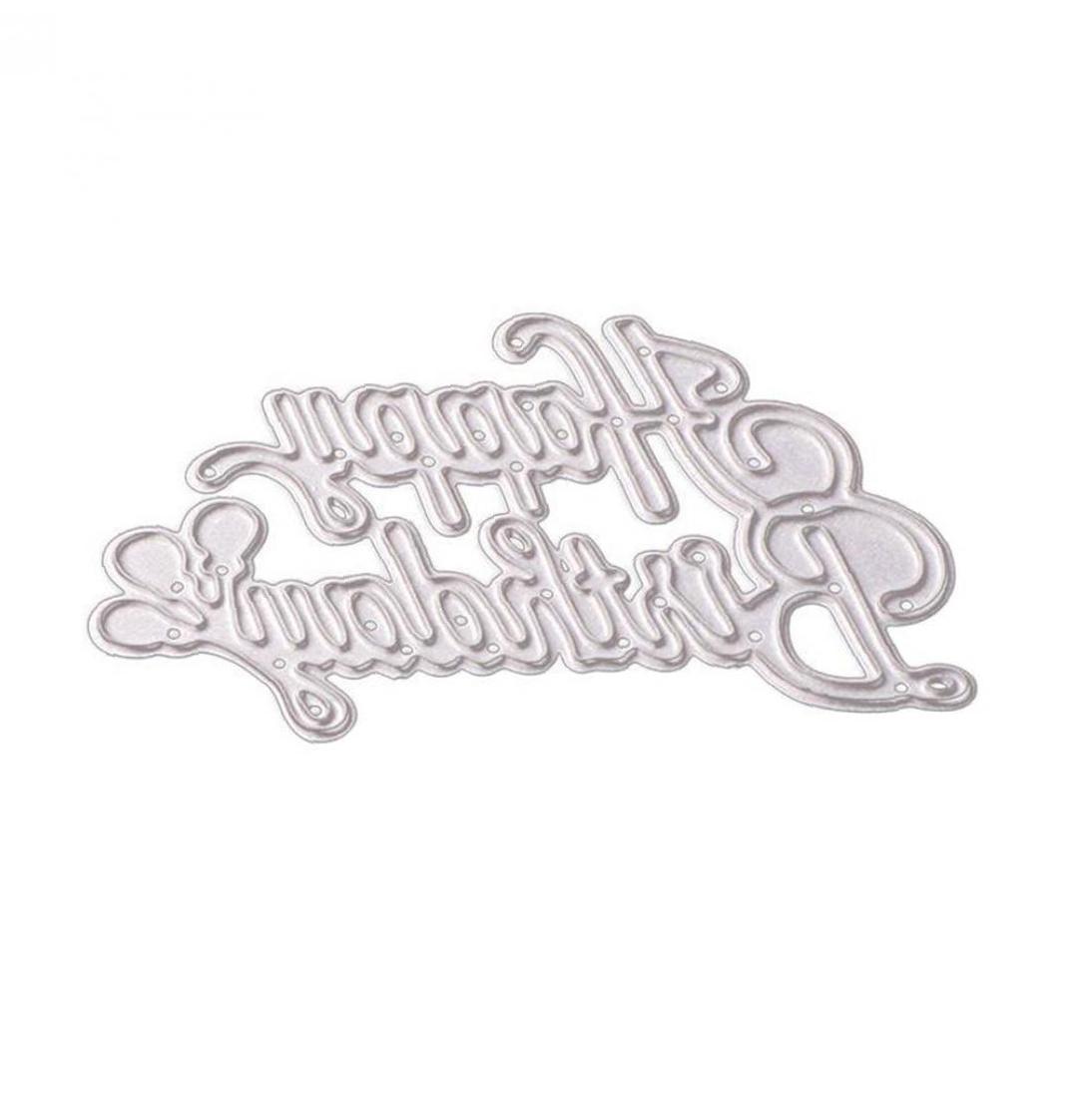 Happy Birthday Shape Cutting Dies Metal Stencil Template For DIY Album Scrapbook Halloween Christmas Thanksgiving Decoration