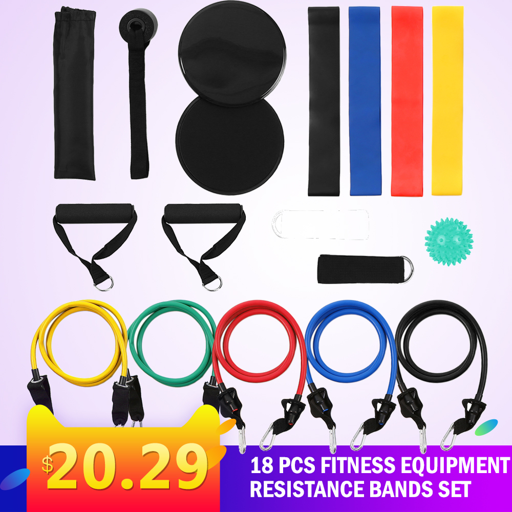 18Pcs Gym Fitness Equipment Resistance Bands Set Workout Fintess Exercise Rehab Bands Loop Bands Spiky Massage Ball For Home Gym