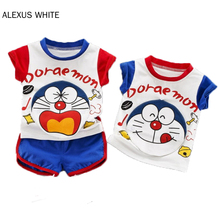 casul girls t shirt shorts two sets lace jeans shorts pants summer top tee white t shirt pure cotton butterfly cartoon clothes Baby Boys Girls Summer Clothes Cartoon Doraemon Cotton Short Sleeve T-shirt Shorts Pants 2Pcs Sets Kids Infants Suits Clothing
