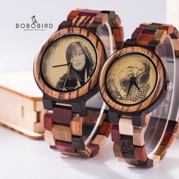 Relojes madera hombre y mujer con impresión de imagen personalizada para parejas 1