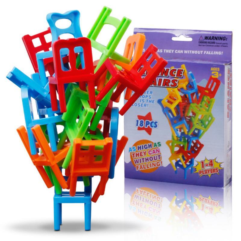 18 pçs mini cadeira colorida empilhando torre balanceamento jogo festa diversão empilhar-se brinquedos jogos da família brinquedo de treinamento de equilíbrio para crianças