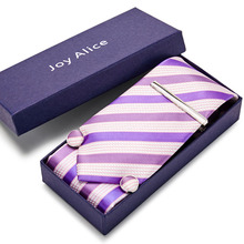 8cm New high-quality mens ties gravatas dos homens tie set for men Pink striped neckties gift box packing