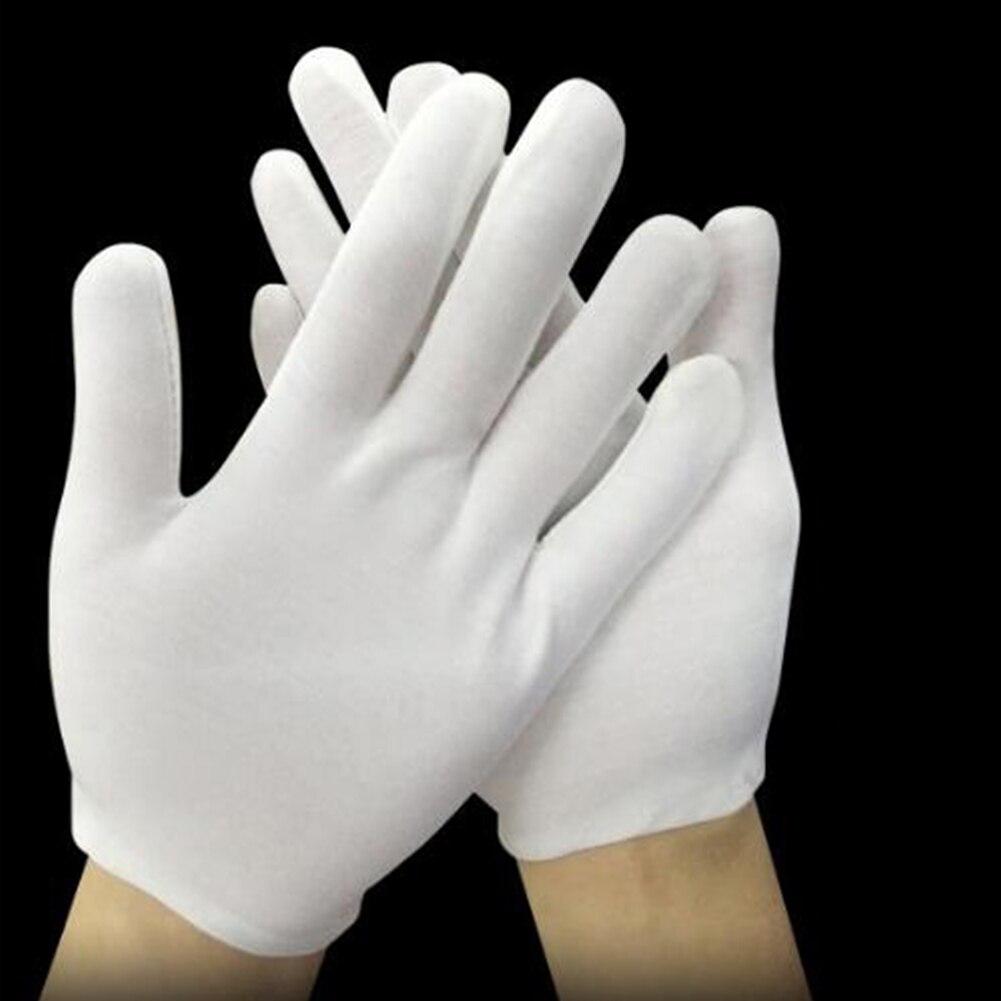 1Pair Unisex Normal Gloves White Cotton Gloves For Waiters Workers Mittens Full Finger Gloves Etiquette Women Sunscreen Gloves