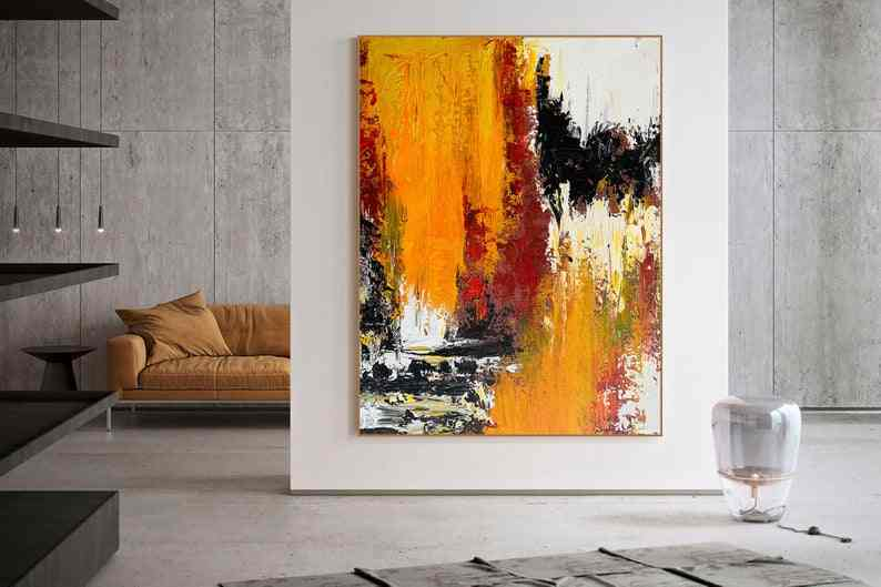 Extra Large Wall Art Abstract Painting Large Acrylic Canvas Wall Art  Expressionism Yellow Modern Painting Wall Art on Canvas
