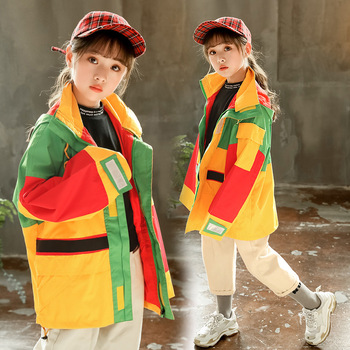 Girl stitching hooded jacket Girl windproof stitching jacket Girl autumn loose hooded jacket Girl stitching sports jacket фото