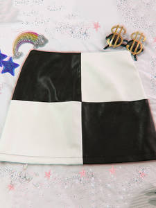 Short Skirt A-Line Patchwork Allneon E-Girl Vintage Black White Fashion Summer Streetwear