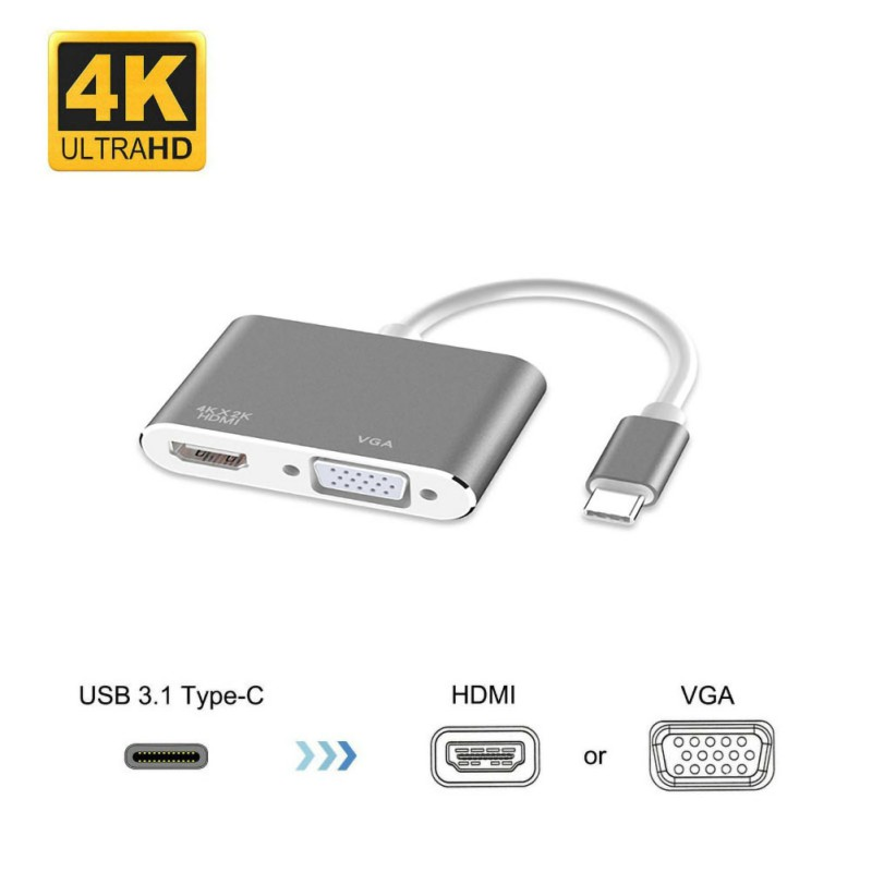 Universal Type-C To HDMI 4K VGA Adapter, USB Video Adapter Cord Compatible With PC/ TV/ Projector