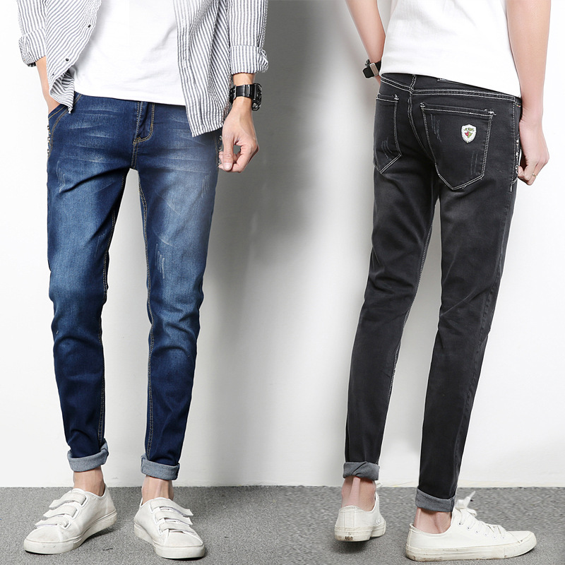 Spring And Autumn Men Capri Jeans Youth Korean-style Trend 2017 Slim Fit Skinny Pants Beggar With Holes Pants Men's