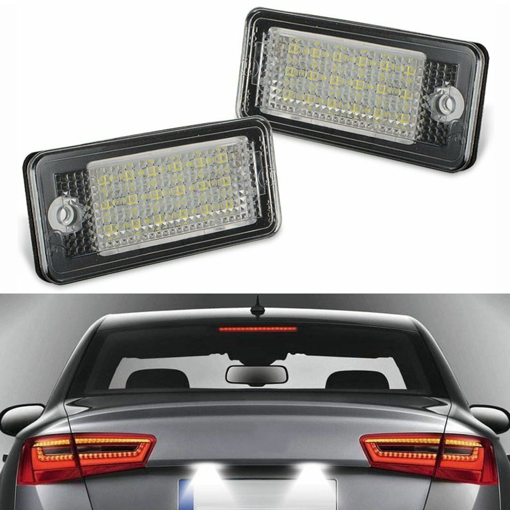 1pair LED Car Number License Plate Lamps With 18 LED Error Free License Plate Light Lamp For Audi A3 A4 A5 A6 A8 B6 B7 Q7