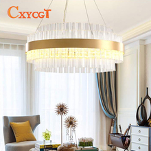 Modern Crystal pendant light Simple Circular Creative Art Living Room Study Metal Nordic Lighting  LED Bulbs