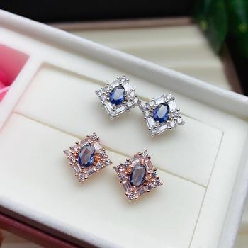 shilovem 925 silver sterling real  Natural sapphire stud earrings fine Jewelry party  trendy new party plant yhe0406299agl
