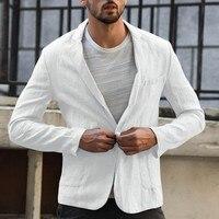 Деловой повседневный мужской блейзер, льняная куртка, облегающее пальто, верхняя одежда, однобортная Мужская куртка, пальто высокого качества 1
