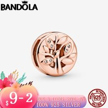 925 пробы серебро и розовое золото Цвет сверкающие Семья дерево