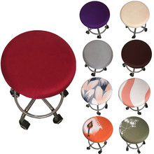 2019 New Round Chair Cover Bar Stool Cover Elastic Seat Cover Home Chair Slipcover Round Chair Bar Stool Chair covers colorful famille rose ceramic round seat stool