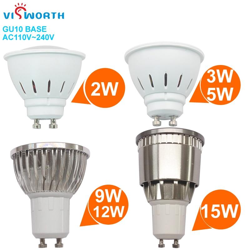 Gu10 led spotlight 2w 3w 5 fosco lâmpada led smd2835 9 12 15 cob led luz ac 110v 220v 240v fosco lâmpada quente branco frio