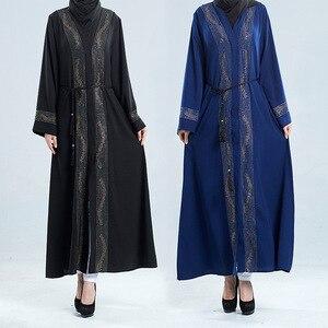 Muslim Kimono Abaya Cardigan Women Open Abayas  Hijab Dress Dubai Turkish Kaftan Robe Plus Size Moroccan Boubou DT2862