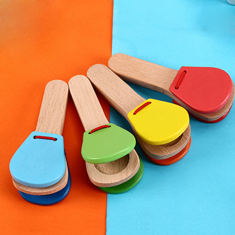 1PC Wooden Percussion Handle Clapping Castanets Board For Baby Musical Instrument Preschool Early Educational Learning Toys