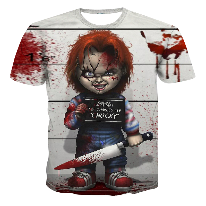 2019 New Arrival Horror Movie Child Of Play Character Chucky 3D Printed Men's T-shirt Summer Casual Shirt  Casual Clown T-shirt