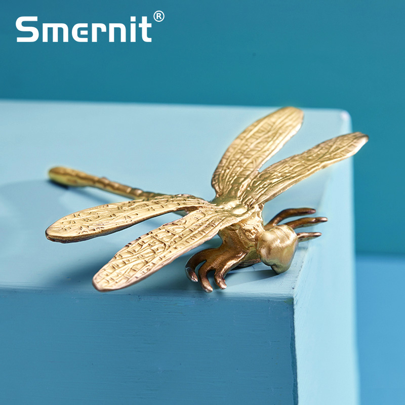 Dragonfly Brass Furniture Handles Elegant Door Knobs And Handles For Kitchen Cabinet Cupboard Creative Drawer Pulls Hardware
