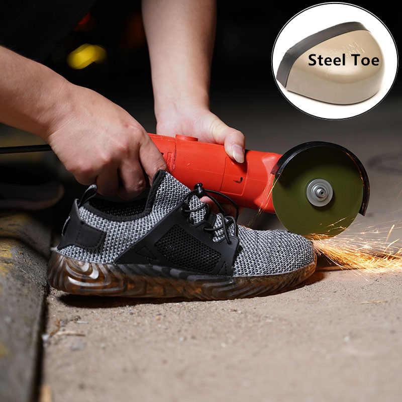 RyderLndestructible ayakkabı erkekler ve kadınlar çelik ayak emniyet botları çalışma hava delinmez kaymaz nefes hafif spor ayakkabı