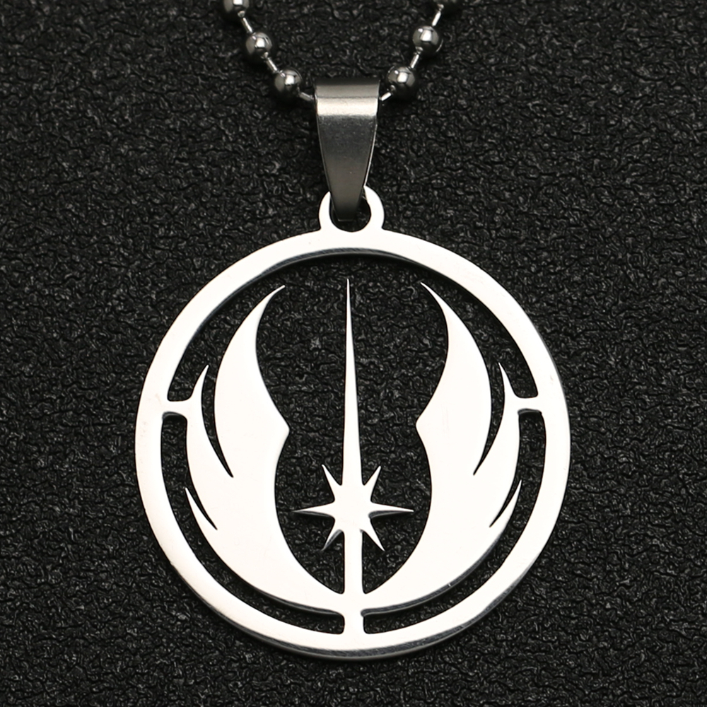 Star Wars Necklace Jedi Order Symbol Logo Emblem Silver Color Pendant Stainless Steel Fashion Movie Jewelry Men Women Wholesale