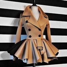 Женское осенне-зимнее пальто с длинным рукавом и оборками цвета хаки, черный топ, двубортные куртки