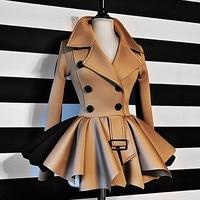 Women Autumn Winter Coat Long Sleeve Ruffles Khaki Black Top Coat Double Breasted Jackets