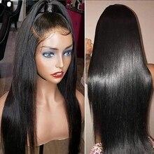 Perruque Lace Front wig brésilienne Remy lisse, perruque de cheveux naturels de bébé, pre plucked avec nœuds décolorés 13x6, pour femmes